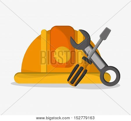 Helmet wrench and screwdriver icon. Under construction work repair and progress theme. Colorful design. Vector illustration