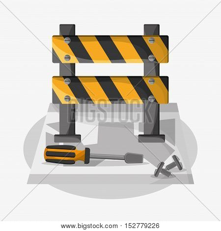 Barrier and screwdriver icon. Under construction work repair and progress theme. Colorful design. Vector illustration