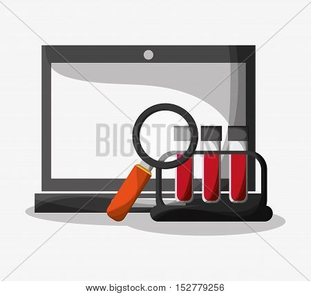 Laptop and lupe icon. Medical and health care theme. Colorful design. Vector illustration