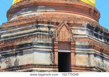 Brick surface wall pagoda old in Temple Thailand at Wat yai chaimongkol province Ayutthaya