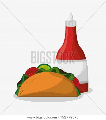 Taco icon. Fast food menu and market theme. Colorful design. Vector illustration