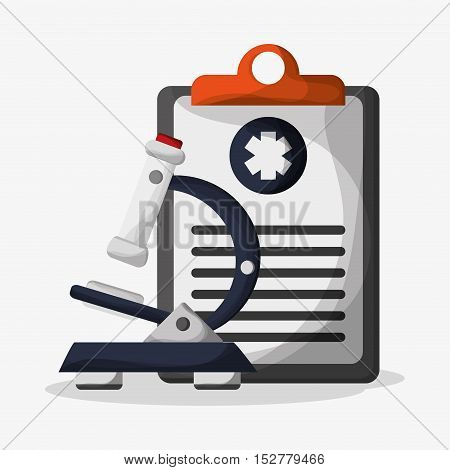 History document and microscope icon. Medical and health care theme. Colorful design. Vector illustration