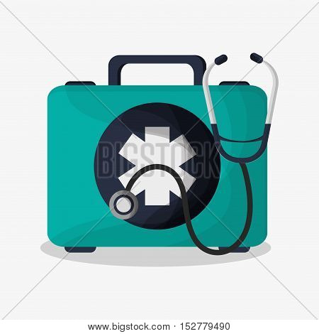 medical kit and stethoscope icon. Medical and health care theme. Colorful design. Vector illustration