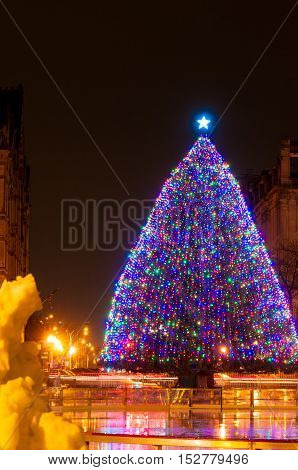 The large outdoor Christmas tree on Clinton Square in Syracuse NY