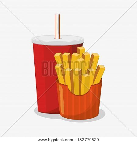 French fries and soda icon. Fast food menu and market theme. Colorful design. Vector illustration