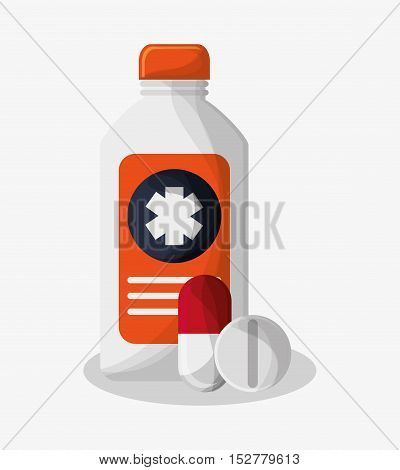 Medicine bottle icon. Medical and health care theme. Colorful design. Vector illustration