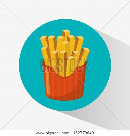 French fries icon. Fast food menu and market theme. Colorful design. Vector illustration