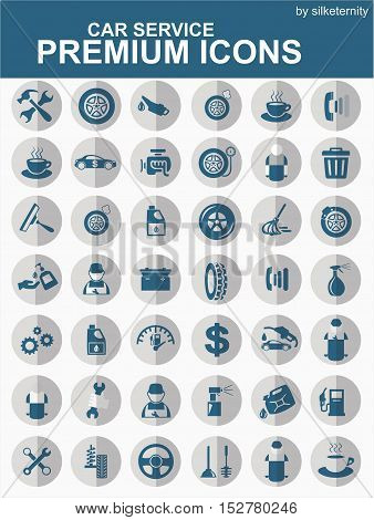 Car icon set wash automobile blue background