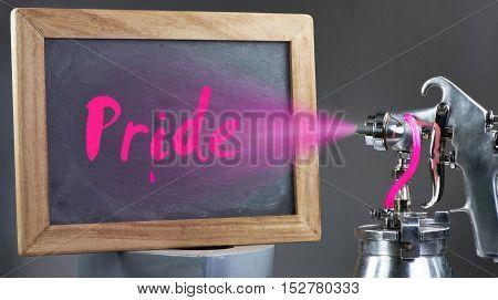 The Peoples Pride sign on a freshly sprayed blackboard.
