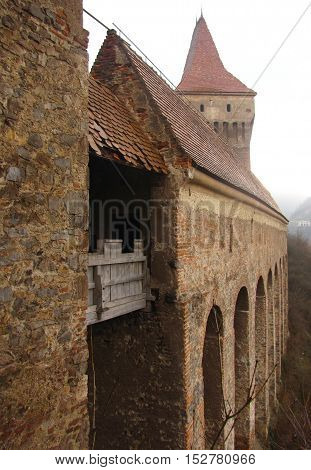 5 January 2013: Striking Transylvanian Castle In Winter With Turrets Showing