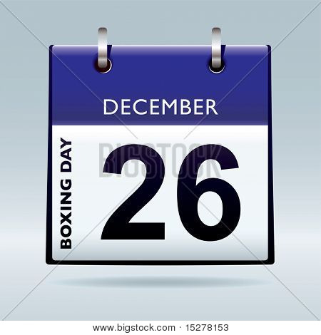Simple blue and white boxing day calendar icon