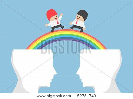 Businessman Walking On Rainbow From Head