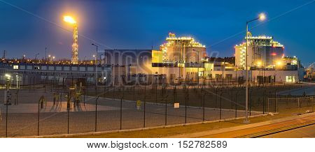 The LNG terminal , tanks of liquefied gas,Swinoujscie,Poland