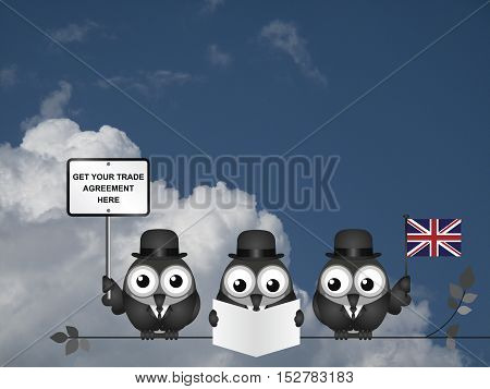 Comical United Kingdom government diplomatic trade delegation team advertising for new worldwide trade deals after exiting the European Union following the June 2016 referendum