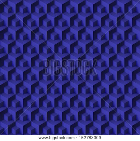 Abstract geometric background with cubes in navy color