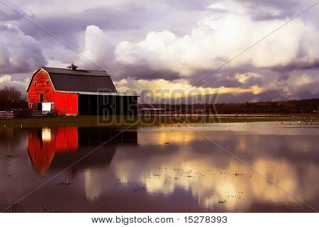 Flooded red barn