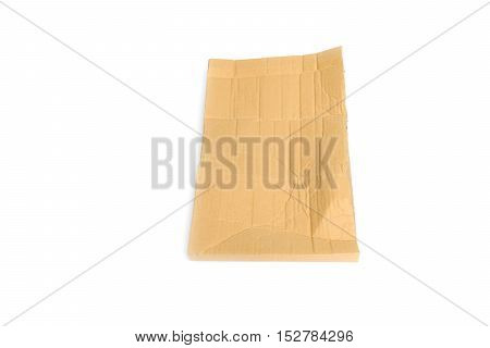 paper packing wrinkled on white background .