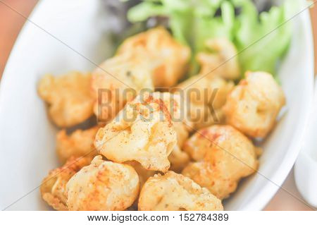 calamari or fried squid dish with vegetable