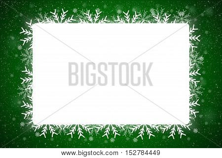 Vector Rectangle White Frame Snowflake. Falling Snow. Green Winter Frame Background. Winter Snowfall. Holidays New Year and Merry Christmas.