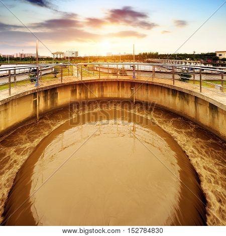 Modern urban sewage treatment plant purification pool.