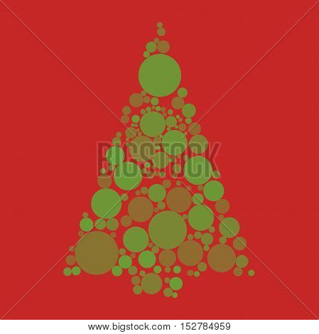 Circle pine in vector. Christmas tree. Red background