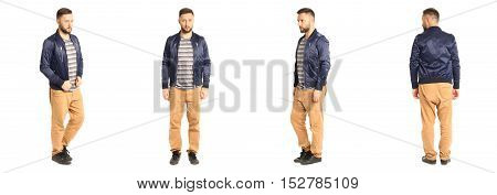 Young Stylish Man In A Blue Isolated On White