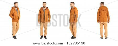 Young Stylish Man In A Orange Isolated On White