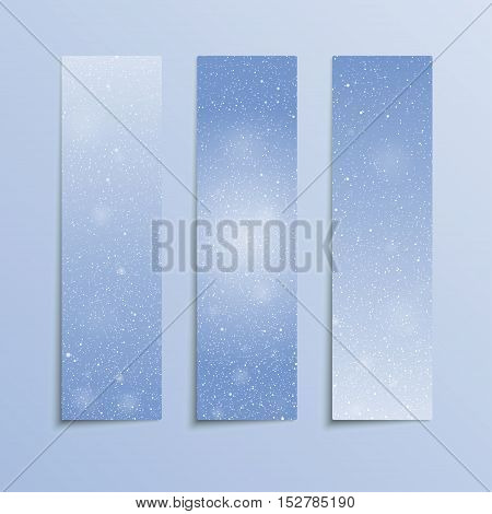 Vertical set of paper Blue rectangle banners template for business design, infographics. Vector illustration eps10. Snow, blizzard, winter.