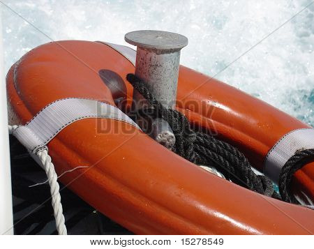 Life buoy on the back of boat