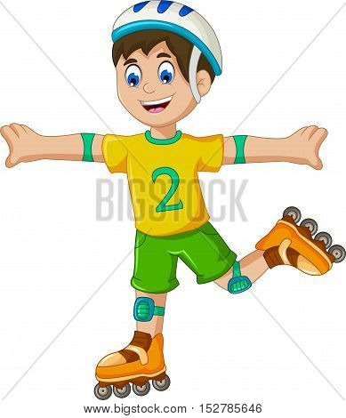 funny a boy cartoon plying roller skates