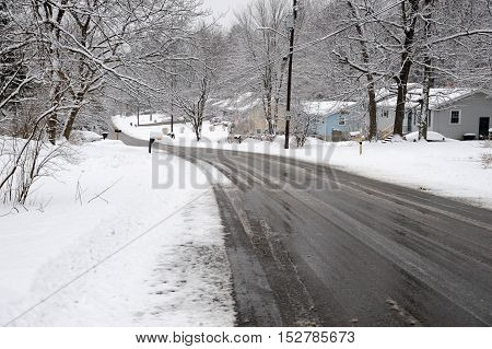 residential area and street after snow storm