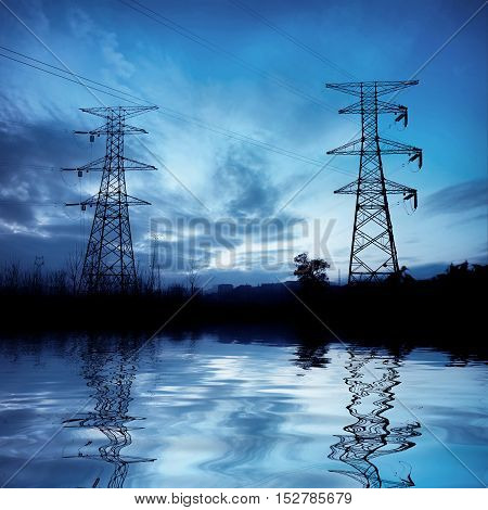 Power transmission equipment, high - voltage tower.