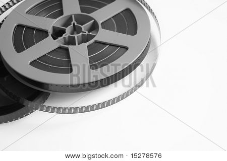 Old film reel isolated on a white background.
