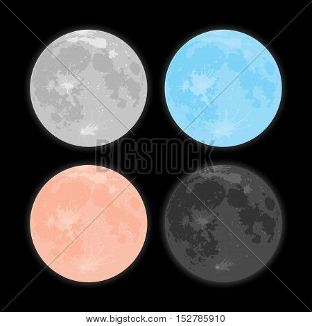 Vector realistic background Starry night sky Stars. Vector Moon. Crater. Set.