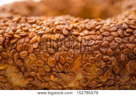 bagel with sesame on a white background