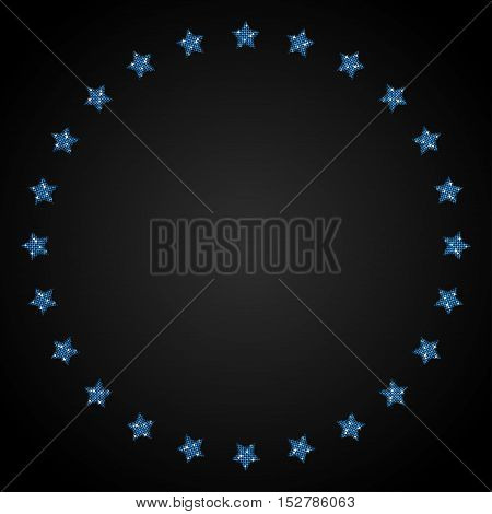Vector abstract background. Blue sequin stars in a circle on the dark background. Eps 10.