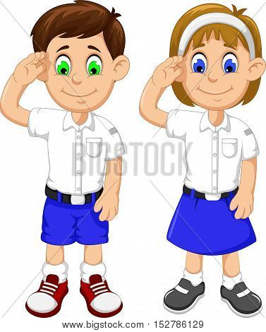 cute two students cartoon respectful for you design