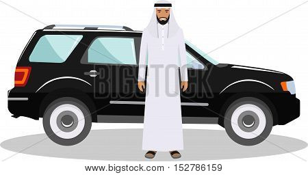 Detailed illustration of automobile and saudi arabic man in traditional islamic clothes on white background in flat style.