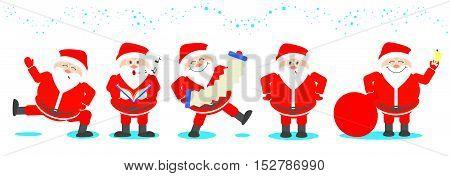 Santa Claus set. Santa Claus in various poses set of Christmas. Vector