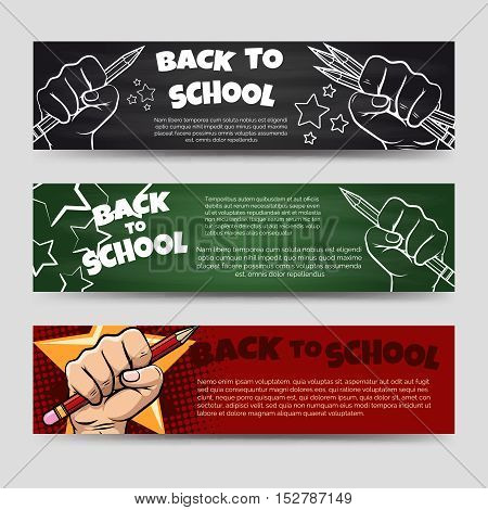 Back to school horizontal banners template vector illustration