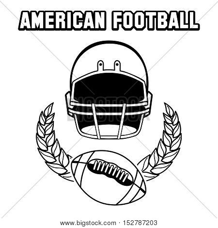 Black and white american football emblem isolated on white. Vector illustration