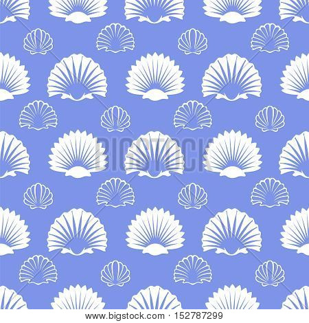Ocean seamless pattern with white sea shells on blue background. Vector ilustration