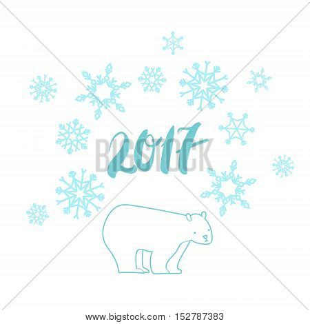 White bear illustration with snowflakes white blue