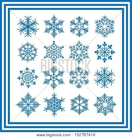 Blue snowflakes isolated on white. Vector snowflakes collection