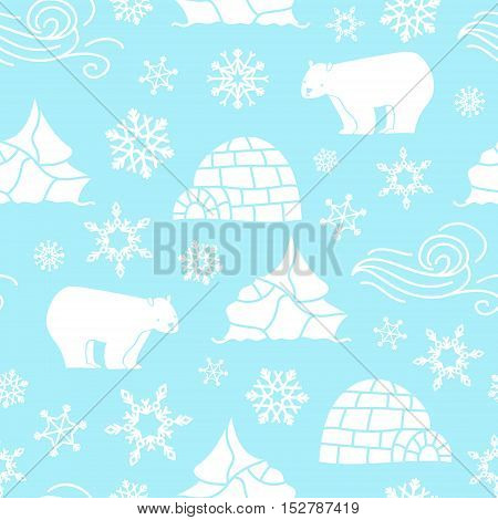 White bear seamless pattern with snowflakes white blue