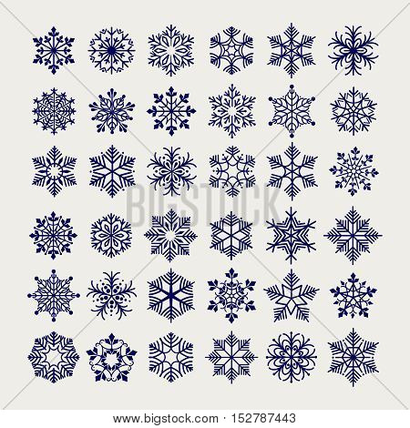 Snowflakes set vector illustration. Ball pen imitation drawing snowflakes