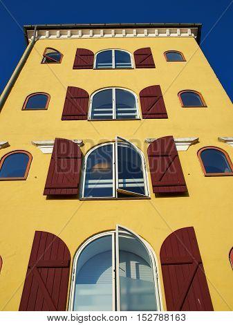 Colorful old traditional style city urban houses Svendborg Funen Denmark