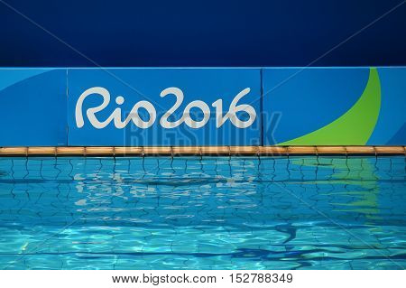 RIO DE JANEIRO, BRAZIL - AUGUST 15, 2016: Swimming pool at at the Maria Lenk Aquatics Centre during Rio 2016 Olympic Games
