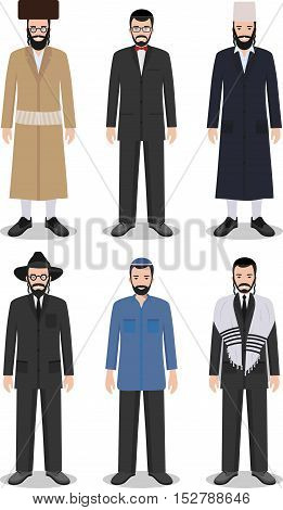 Detailed illustration of different standing jewish men in the traditional national clothing isolated on white background in flat style.