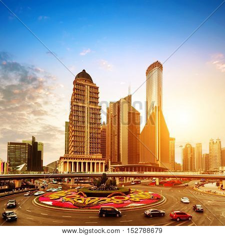 China Pudong New Area Shanghai Lujiazui financial district dusk landscape.